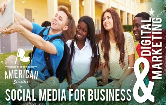 Flyer for Social Media Short Course, picturing students taking a group selfie photo.