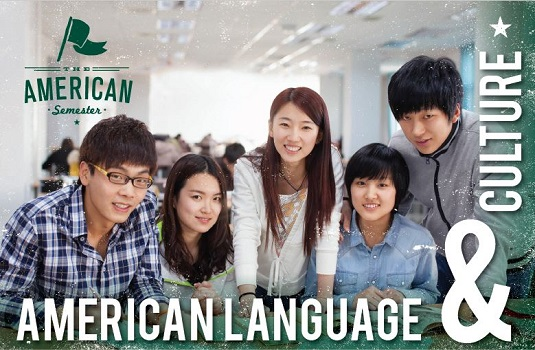 The American Language & Culture Program marketing photo picturing Asian students in a classroom.