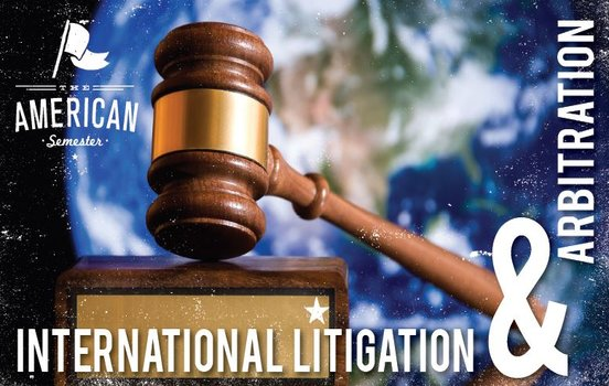 International Litigation and Arbitration course flyer, photo of a gavel in front of a globe.